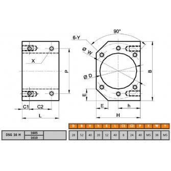 Модуль гайки ШВП (SFU1605,1610)